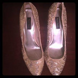 White House Black Market off-white sequin heels